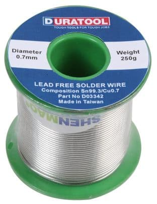 DURATOOL D03342  Solder Wire, Lead Free, 0.7Mm, 250G